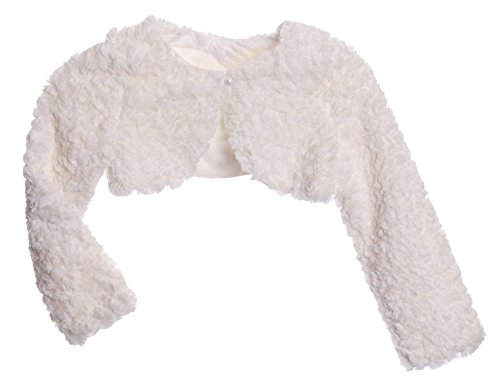 Girls Tufted Plush Long Sleeve Bolero (24 Months, Ivory)