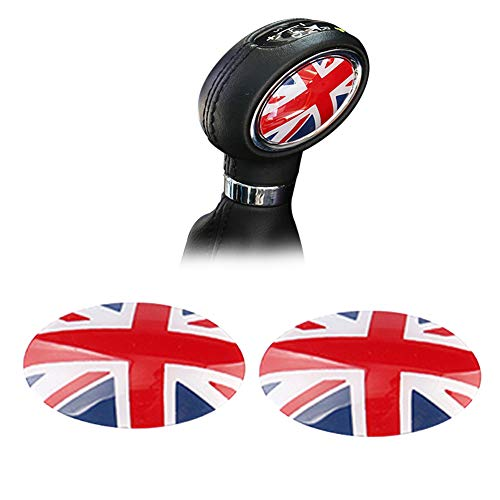 GTINTHEBOX (2 Union Jack UK Flag ABS Shift Knob Automatic Trans Trim Badge Covers for Mini Cooper/Cooper S for Hardtop (F56), Hardtop 4-Door (F55), Convertible (F57) & Clubman (F54)
