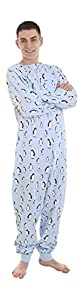 Adult Onesie Footed Pajamas Zooland Penguins on Blue XS-XXL(size on Height)