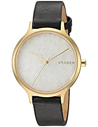 Skagen Women's 'Anita' Quartz Stainless Steel and Leather Casual Watch, Color:Black (Model: SKW2671)