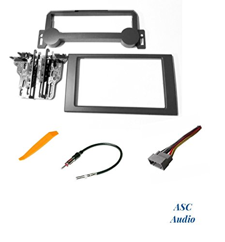 ASC Audio Car Stereo Install Dash Kit, Wire Harness, and Antenna Adapter for Installing a Double Din Radio for 2006-2010 Chrysler PT Cruiser 2004-2007 Dodge Durango 2005-2007 Jeep Grand (Radio Control Bezel)