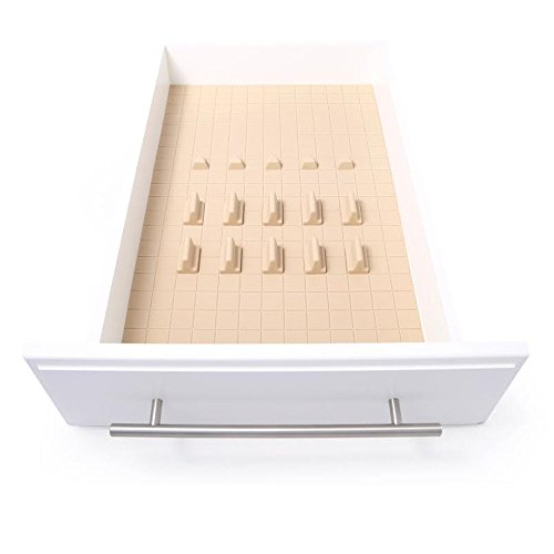 KMN Home DD00396 DrawerDecor Customizable Organizer, Drawer and Shelf Cabinet Liners, Non-Slip and Easy Clean, Deluxe Starter Kit, 16 Piece - Natural ()