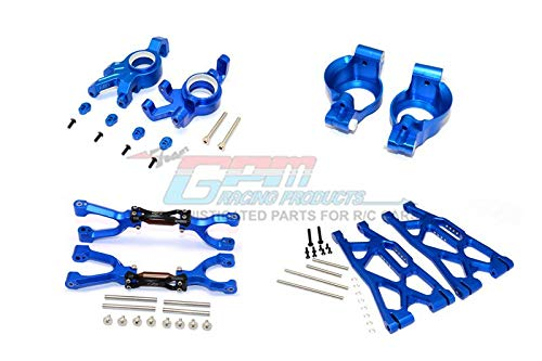 Traxxas X-Maxx 4X4 Upgrade Parts Aluminum Front Upper + Lower Arms + C Hubs + Kncukle Arms Set - 52Pc Set Blue