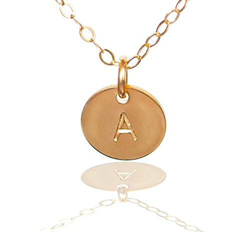 Efy Tal Jewelry Initial Necklace- Tiny Gold Filled Custom Alphabet Necklace - Dainty Disc, Personalized Monogram Necklace