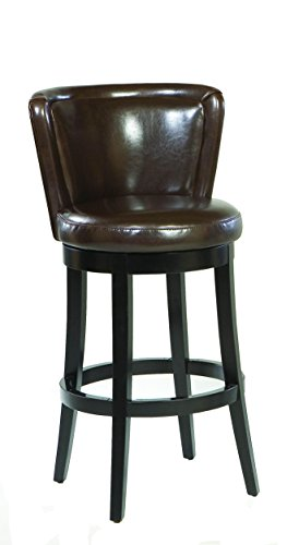 Cheap Armen Living LCMBS11SWBABR26 Lisbon 26″ Counter Height Swivel Barstool in Brown Bonded Leather and Black Wood Finish