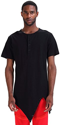 Pizoff Mens Hipster Asymmetric Style Unbalance Diagonal Cut Longline Short Sleeve Drop Henly Collar T Shirt Dress P3118-black-XL