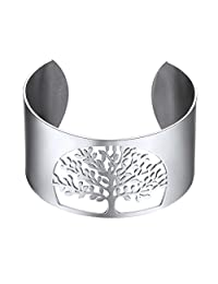Life Tree Cuff Bracelet 316L Stainless Steel Lucky Jewelry 18k Gold/Black Gun Plated Tree of Life Bangle CA-PSH2883