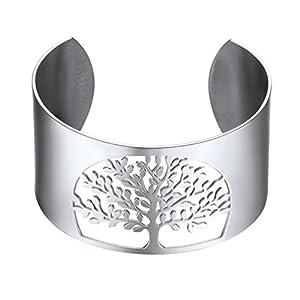Big Bangle,Cuff Bracelet,Tree of Life, Family Tree Jewelry,Wide Bangles,Mens Womens Jewelry