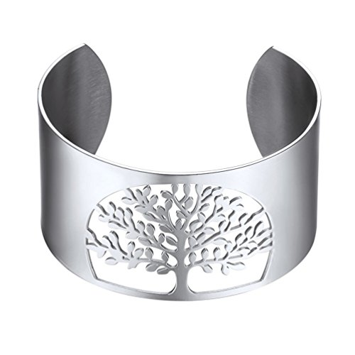 PROSTEEL Stainless Steel Bangle,Stainless Steel Bracelet,Stainless Steel Women Bracelet,Tree of Life,Wide Bangles,Metal Cuff Bracelets,Family Tree Jewelry,PSH2883G