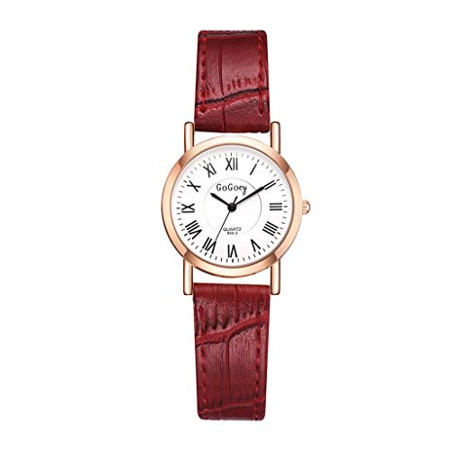 Women Fashion Simple Quartz Wrist Watch Small Dial Round Genuine Leather Strap for Ladies Red