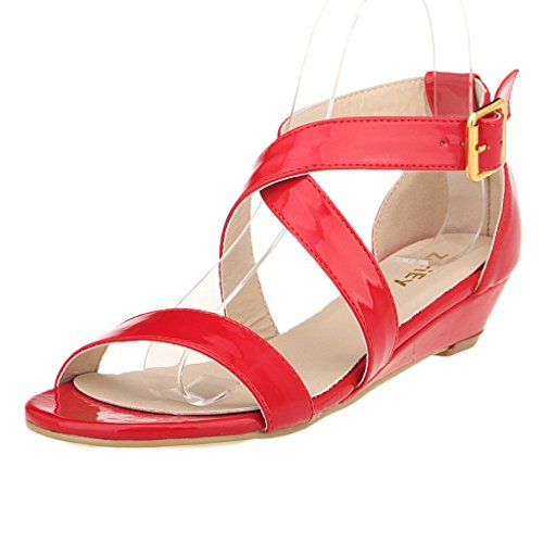 ZriEy women's Classic Ultra Comfort Sexy Low Heel Sandals Patent Leather Red size 9 (Low Red Heel)