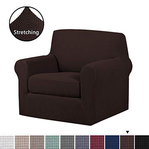 (H.VERSAILTEX 2-Pieces Skid Resistance Sofa Cover Furniture Protector Jacquard Spandex Couch Covers, Fitted Sofa Protector Stretch Knitted Jacquard Sofa Slipcovers-Brown, Chair(1 Seater))