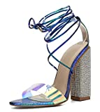 CAMSSOO Womens High Heel Sandal Open Toe Lace Up Chunky Block Heel Transparent Strip Sandals Blue Size US8.5 CN40