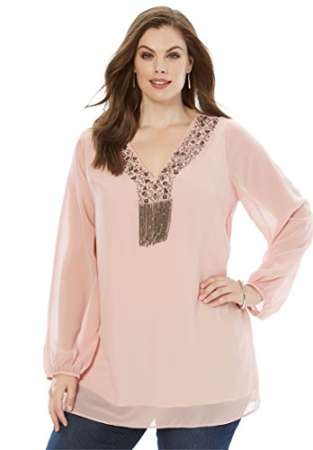 Beaded Print Blouse - Roamans Women's Plus Size Beaded Tunic Blouse