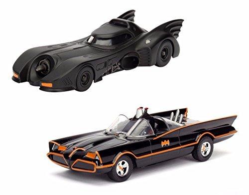 Black Model Bat (NEW 1:32 JADA TOYS DISPLAY COLLECTION - BLACK CLASSIC TV SERIES BATMOBILE 1966 & BATMOBILE 1989 (2 CARS SET) Diecast Model Car By Jada Toys (Without Retail Box))