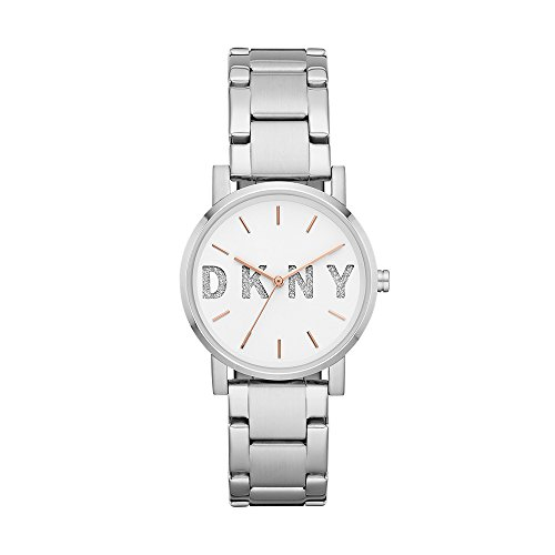 Dkny Womens Silver Dial - DKNY Women's Soho Quartz Watch with Stainless-Steel Strap, Silver, 18 (Model: NY2681)