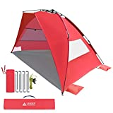 Leader Accessories EasyUp Beach Tent Quick Cabana Sun Shelter Family Use,Sets up in Seconds (Red) For Sale