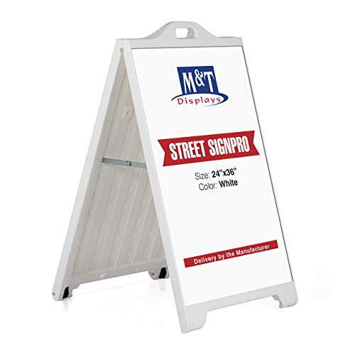 Street SignPro Board, A-Frame Sidewalk Curb Sign, Folding Portable Double Sided Display Sandwich Board, 24x36 Poster Display - - Folding Sidewalk Sign
