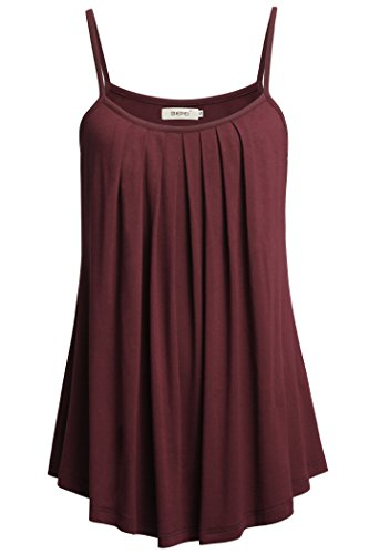 BEPEI Women Loose Casual Summer Pleated Flowy Sleeveless Camisole Tank Tops,Wine,X-Large
