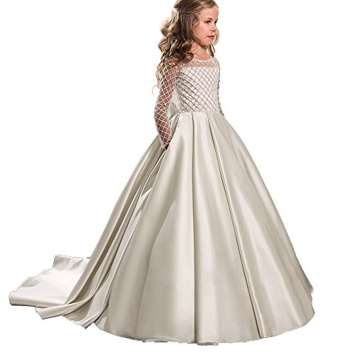 - AbaoSisters Princess Flower Girl Dresses Lace Long Sleeve Satin Kids Puffy Ball Gown Size 10 Ivory