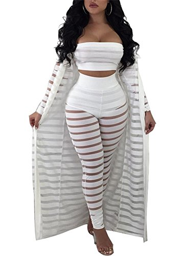 Voghtic Women's Sexy 3 Piece Outfits- Tube Top See Through Stripe Long Pants and Long Sleeve Cover up
