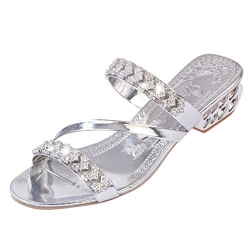 Scarpe con Strass Eleganti Argento Infradito Toe Beauty Mare Donna Eleganti Strass   945629