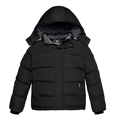 Wantdo Boy's Fleece Warm Winter Jacket Cotton Padded Puffer Jacket Black 14/16