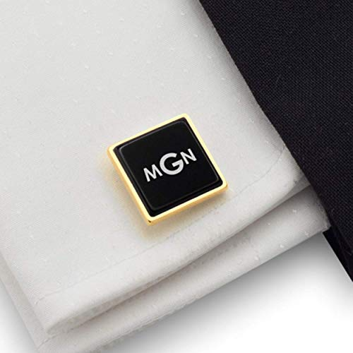 Monogrammed gold cufflinks for men, Personalized cufflinks for men Gold, 925 Silver 14K gold plated Black Onyx stone, Gift Message, Box, Handmade