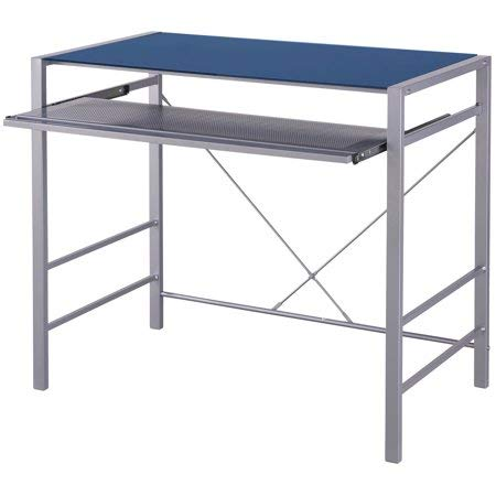 Mainstays Stylish Glass-top Desk Brings Organization to Your Work or Study Area (36 x 20 x 30 inches, Baltic Sea)
