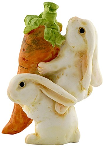 Top Collection Miniature Fairy Garden and Terrarium Statue, Rabbits Carrying Carrot