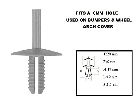 Side Panel Body Panel Screw2 XtremeAuto/® 10 X CLIPS//RIVETS//FIXTURES FOR CAR: Bumper Mounting Wheel Arch Door etc. Moulding