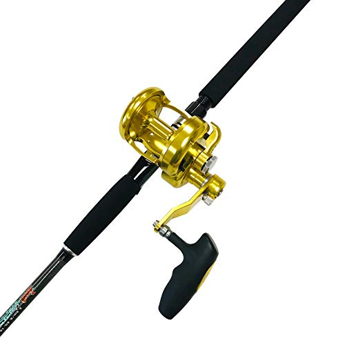 EAT MY TACKLE Tuna Terminator Jigging Fishing Rod Combo with A 18 Wide 2 Speed Fishing Reel