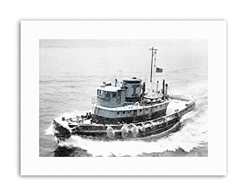 Wee Blue Coo Tugboat New York Harbour Snow Winter USA Vintage Canvas Art Prints