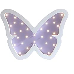 Children's Room Decorative Wood Lamp, LAFEINA Cute Baby Sleeping Lamp Wooden Table Wall Decor Lights Kids Room Decorations (Purple Butterfly)