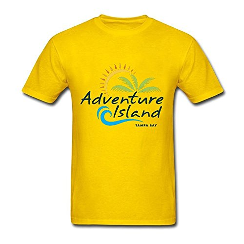 - Tee Center Adventure Island Tampa Bay Men Cotton Tshirt Yellow XXL