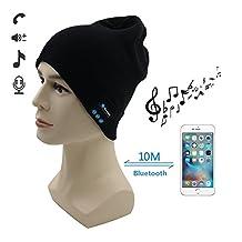 TAKSON Bluetooth Music Soft Warm Beanie Hat Cap with Musicphone Speakerphone Stereo Headphone Headset Earphone Speaker Mic for Winter Fitness Outdoor Sports Running Valentines Day Gift (Black)