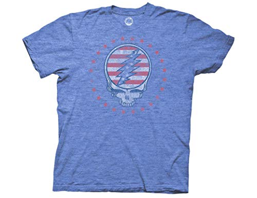 Ripple Junction Grateful Dead Adult Unisex Patriotic SYF Reverse Light Weight Crew T-Shirt SM Heather Royal (Skeleton Jester)