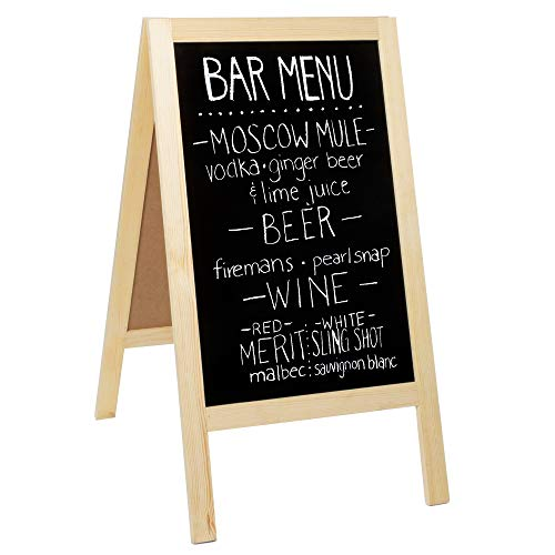 Wooden A-Frame Sign with Eraser & Chalk - 40 x 20 Inches Magnetic Sidewalk Chalkboard - Sturdy Freestanding DIY Sandwich Board Menu Display for Restaurant, Business Or Wedding -
