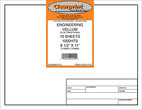 Clearprint 1000H Design Vellum Sheets with Engineer Title Block, 100% Cotton
