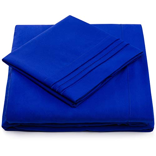 Full Size Bed Sheets - Royal Blue Luxury Sheet Set - Deep Pocket - Super Soft Hotel Bedding - Cool & Wrinkle Free - 1 Fitted, 1 Flat, 2 Pillow Cases - Bright Blue Full Sheets - 4 Piece