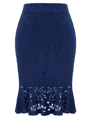 Women Elastic Waist Office Pencil Skirt Mermaid Lace Party Evening Skirt Navy L