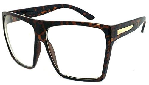 Clear tamaño de grande retro planas de diseño marco cuadradas Tortoise con sol WebDeals Gafas de w6xaYxAq