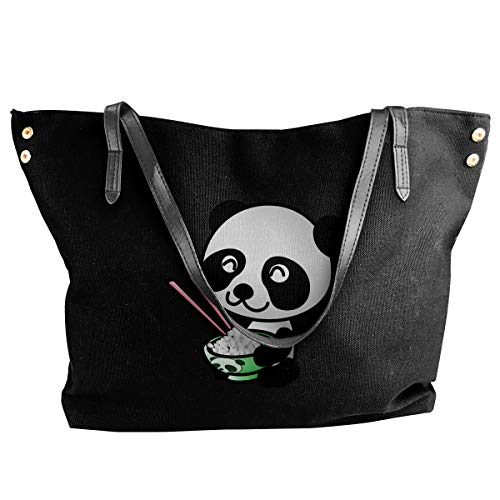 Are Eating Relish Yummy Panda Womens Tote Bags Canvas Shoulder Satchel Purse Bag