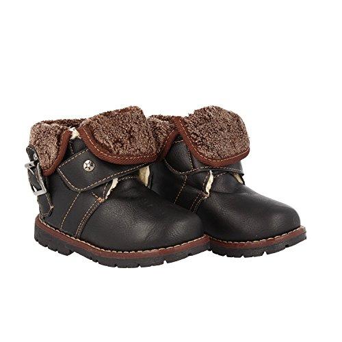 Warm Gefütterte Kinder Outdoor Boots Schnürschuhe Halbschaft Stiefel, Jungen, Mädchen, Farbe:Schwarz;Schuhgröße:21