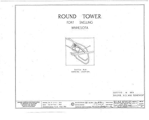 Snelling Round Print - Blueprint Diagram HABS MINN,27-FOSNEL,1A- (sheet 0 of 1) - Fort Snelling, Round Tower, Bound by Mississippi River, Airport, Minnehaha Park, Minneapolis, Hennepin County, MN 44in x 32in