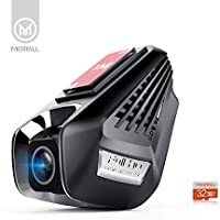 MERRiLL Dash Cam WiFi 170° Wide Angle FHD 1296p with Parking Mode, Loop Recording, Remote Control, G-sensor, ADAS, 32G SD Card