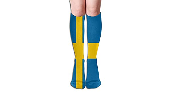 Swedish Flag Compression Socks For Women Casual Fashion Crew Socks