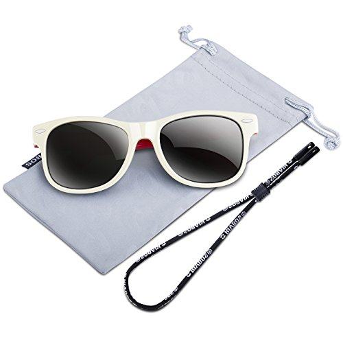 RIVBOS Rubber Kids Polarized Sunglasses With Strap Glasses Shades for Boys Girls Baby and Children Age 3-10 RBK004 (826-white)