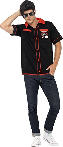 Smiffys Adult Mens 50's Bowling Shirt with Strike It Lucky Motifs, Rockin' 50's, Serious Fun, Size L, (Men's 50's Bowling Shirt Costume)