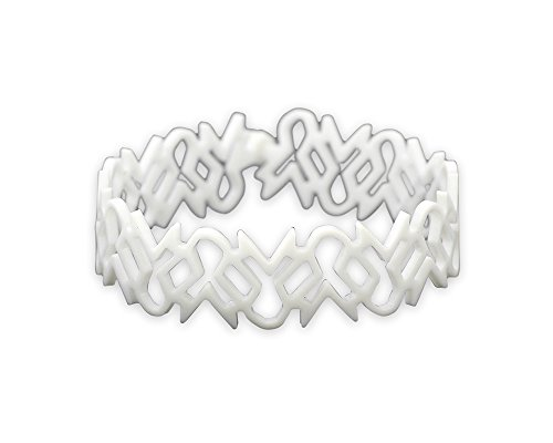 Fundraising For A Cause Lung Cancer Awareness White Ribbon Bracelets (1 Bracelet - Retail) (Silicone Ribbon)